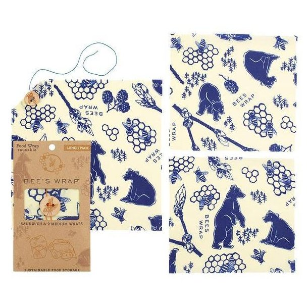 Bee´s Wrap frokostpakke med 3 Bears and Bees